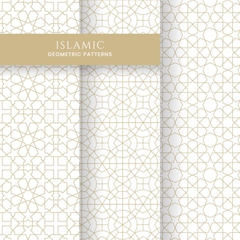 Collection d'arrière-plans de motifs marocains géométriques arabes islamiques sans soudure