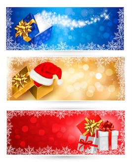 Collection d'arrière-plans de noël avec coffrets cadeaux et flocons de neige. illustration.