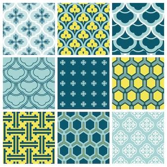 Collection d'arrière-plans sans couture vintage tile