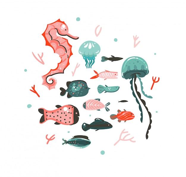 Collection d'art graphique d'illustrations sous-marines graphiques d'été dessinés à la main avec des récifs coralliens, des méduses, des hippocampes et différents poissons isolés