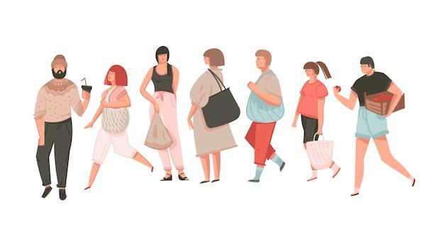 Collection d'art d'illustrations graphiques dessin animé abstrait dessiné à la main sertie de filles et de garçons concept zéro gaspillage isolé sur fond blanc