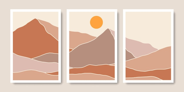 Collection d'art mural bohème de montagne