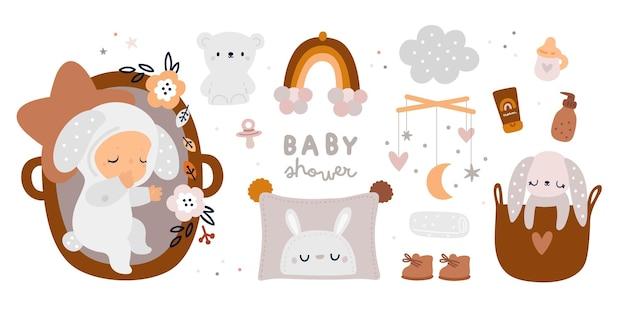 Collection d'articles essentiels pour nouveau-né dans un style bohème. produits de pépinière pour la première année de vie