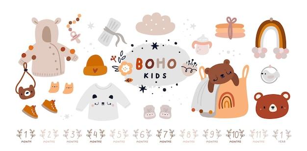 Collection d'articles essentiels pour nouveau-nés dans un style bohème. bébé doit avoir