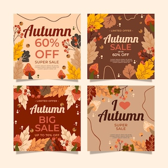 Collection d'articles instagram de vente d'automne avec photo