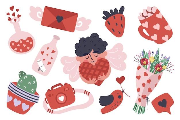 Collection d'articles de la saint-valentin en style cartoon.