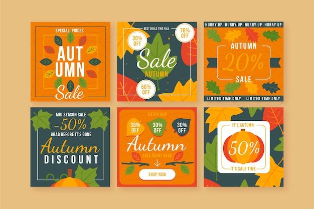 Collection d'articles de vente instagram d'automne