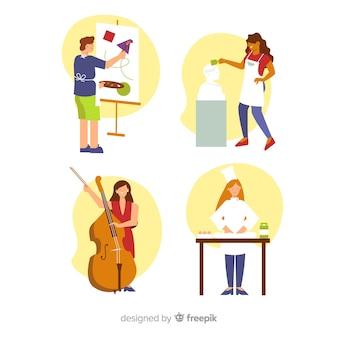 Collection d'artistes faisant leur travail