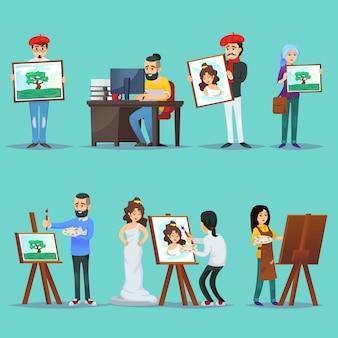 Collection d'artistes avec leurs peintures
