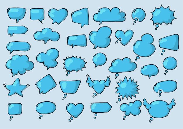 Collection artistique de ballon dessiné de style doodle dessiné à la main