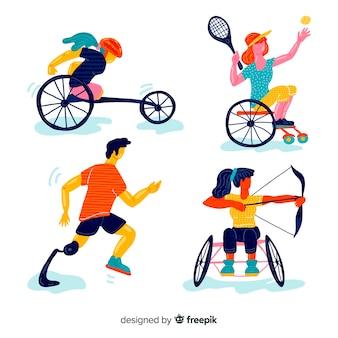 Collection d'athlètes handicapés dessinés à la main