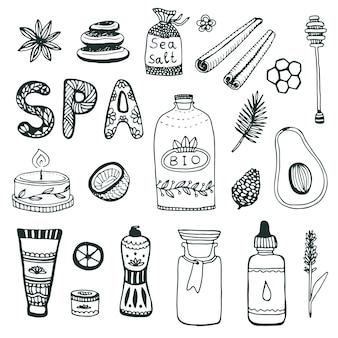 Collection d'aube spa main. jeu d'icônes de beauté