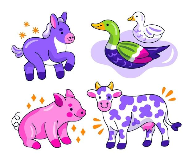 Collection d'autocollants animaux créatifs