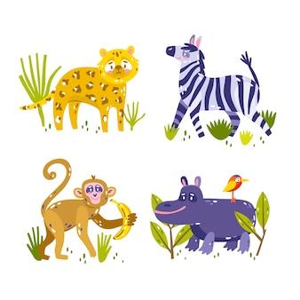 Collection d'autocollants animaux dessinés à la main