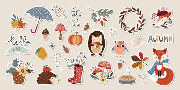 Collection d'autocollants d'automne avec des éléments saisonniers mignons