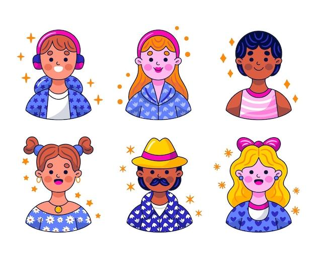 Collection d'autocollants d'avatar kawaii