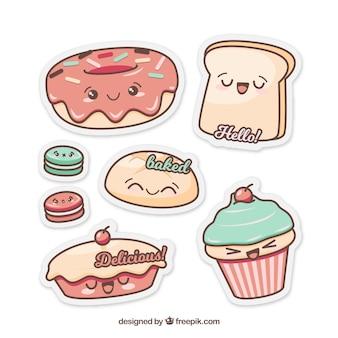 Collection d'autocollants de boulangerie dans le style plat