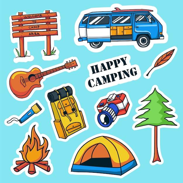 Collection d'autocollants de camping dessinés à la main colorés