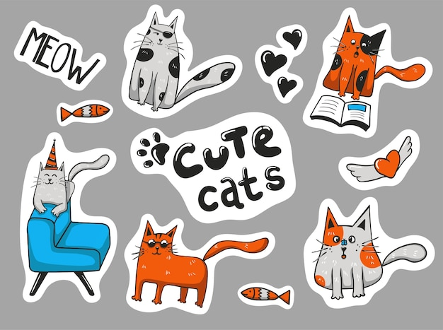Collection d'autocollants de chats mignons dessinés à la main colorés