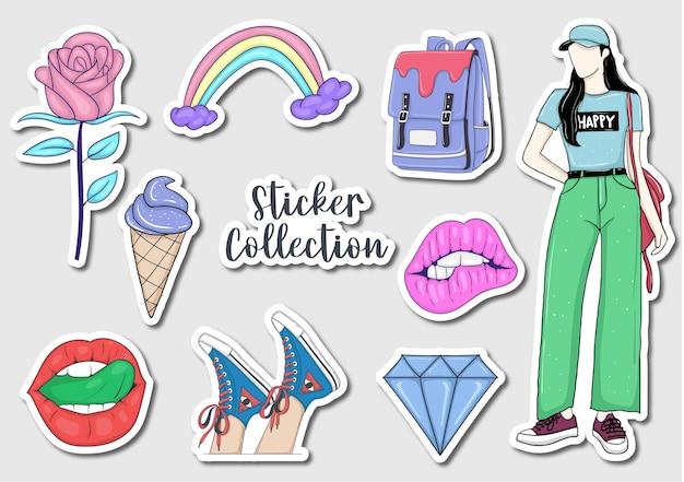 Collection d'autocollants colorés dessinés à la main