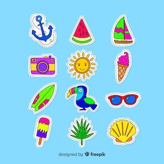 Collection d'autocollants colorés de l'été