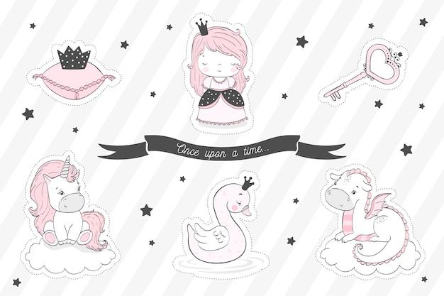 Collection d'autocollants de conte de fées pour les filles.