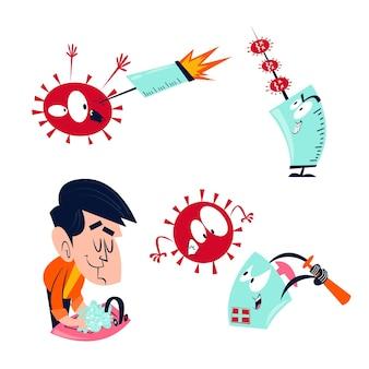 Collection d'autocollants de coronavirus de dessin animé rétro