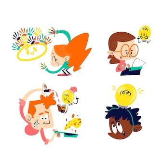 Collection d'autocollants de créativité de dessin animé