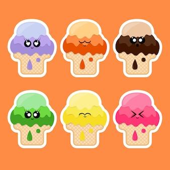 Collection d'autocollants à la crème glacée avec emoji