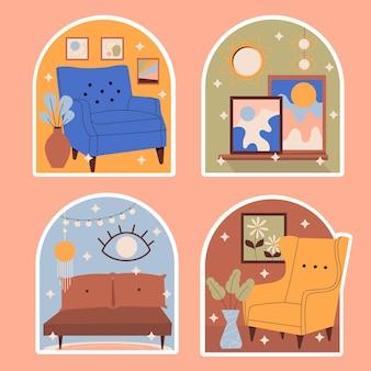 Collection d'autocollants de décoration naïve