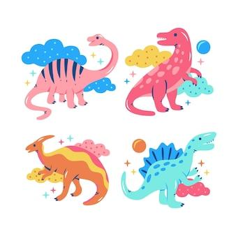 Collection d'autocollants de dinosaures fastueux