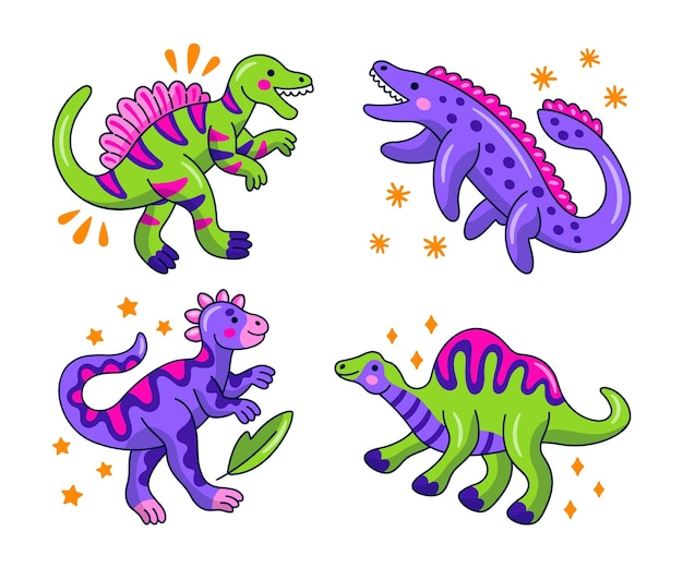 Collection d'autocollants de dinosaures kawaii