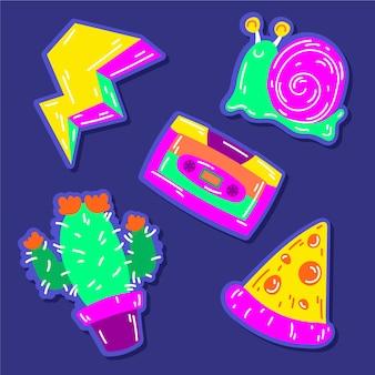 Collection d'autocollants drôles dessinés à la main avec des couleurs acides