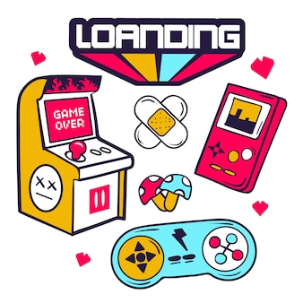 Collection d'autocollants drôles dessinés à la main avec des jeux