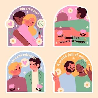 Collection d'autocollants d'égalité naïve
