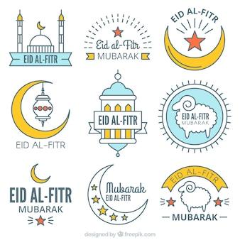 Collection d'autocollants eid al fitr en style linéaire