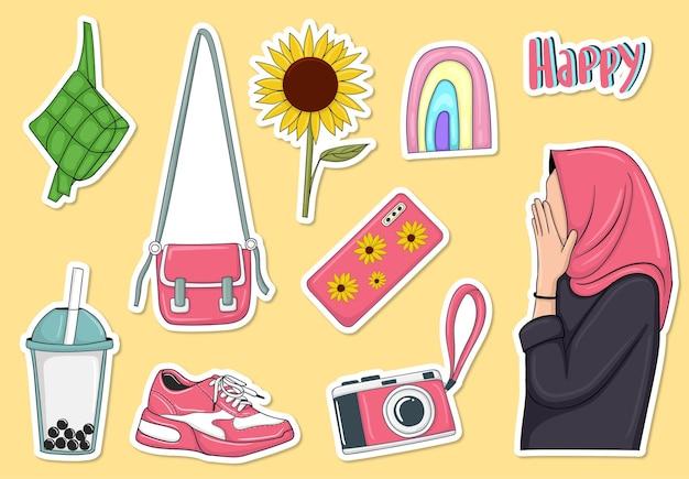 Collection d'autocollants d'élément de fille musulmane dessinée à la main colorée