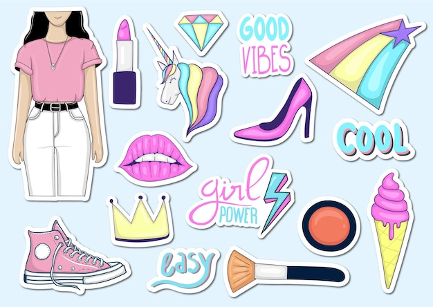 Collection d'autocollants d'éléments féminins tendance dessinés à la main colorés