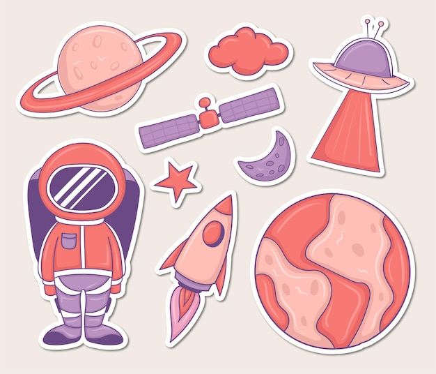 Collection d'autocollants d'éléments spatiaux colorés dessinés à la main