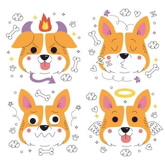 Collection d'autocollants d'émoticônes de chien dessinés à la main doodle