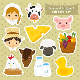 Collection d'autocollants farmer and milkmaid