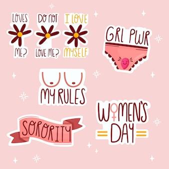 Collection d'autocollants féministes mignons