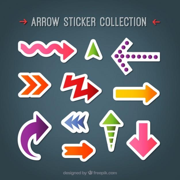 Collection d'autocollants de flèches modernes