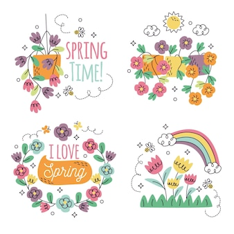 Collection d'autocollants floraux dessinés