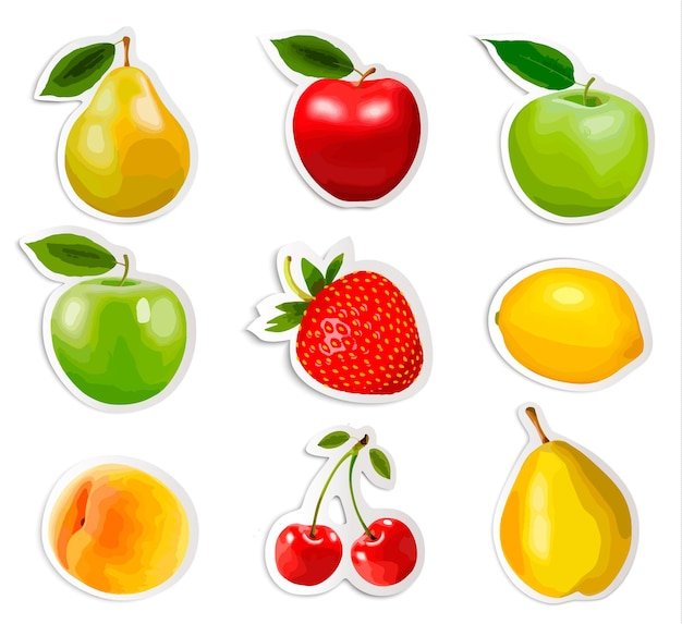 Collection d'autocollants de fruits. vecteur.