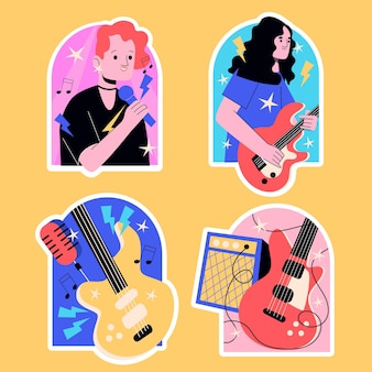 Collection d'autocollants de groupe de musique