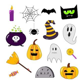 Collection d'autocollants d'halloween avec un balai de chat de chauve-souris de bonbons de citrouille fantôme