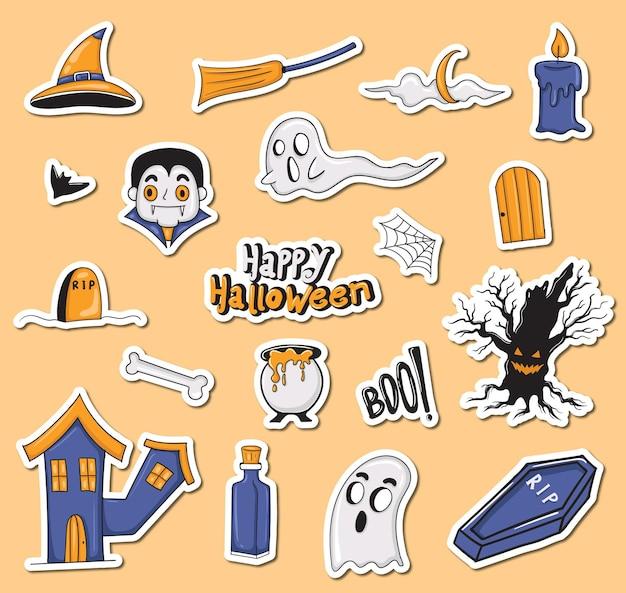 Collection d'autocollants halloween colorés dessinés à la main
