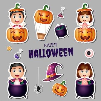 Collection d'autocollants halloween avec des enfants mignons