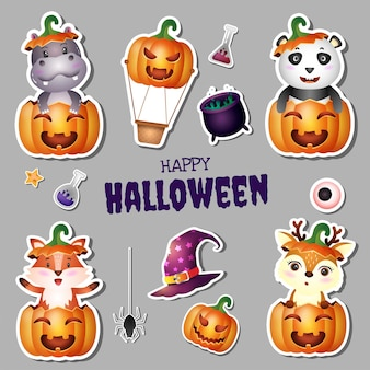 Collection d'autocollants halloween avec hippopotame, panda, renard et cerf mignons